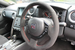 Alcantara retrimmed steering wheel
